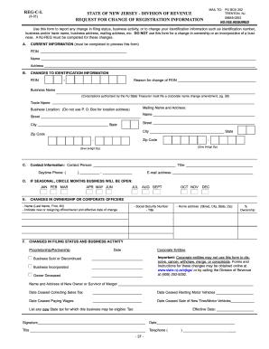 Nj Reg Cl - Fill Online, Printable, Fillable, Blank | PDFfiller