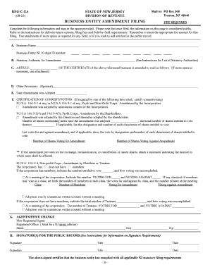 Business Entity Amendment Filing Nj - Fill Online, Printable ...