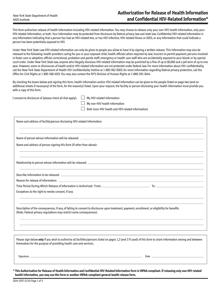 2011-2019 Form NY DOH-2557 Fill Online, Printable, Fillable