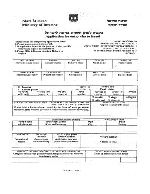 Israel Visa Application Form - Fill Online, Printable, Fillable ...