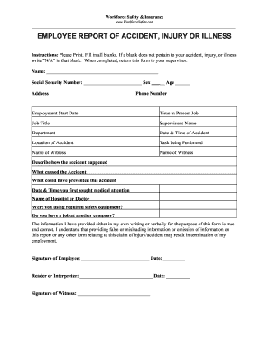 Employee Incident Report Template - Fill Online, Printable ...