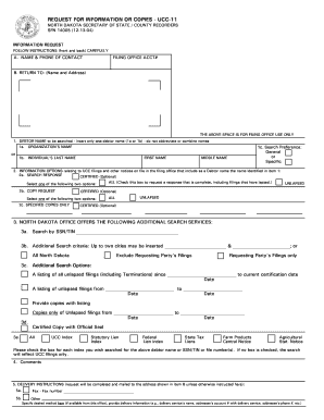 North Dakota Request For Copies Or Information Ucc 11 - Fill ...