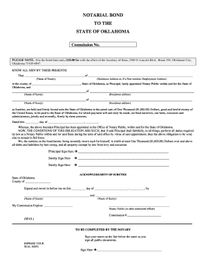 image about Printable Notary Forms identify Directions For Style Notarial Bond In the direction of The Nation Of Oklahoma