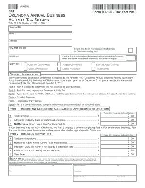 Oklahoma Form Bt 190 Instructions - Fill Online, Printable ...