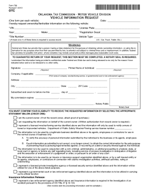 Oklahoma Vehicle I Formation Request Online Fill Online