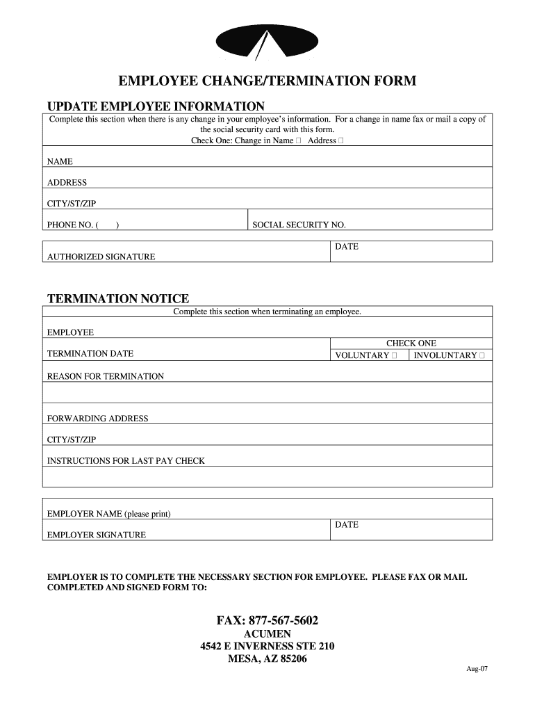 It's just an image of Selective Printable Employee Termination Form