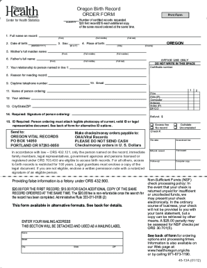 Oregon Replacement Fillable Form Birth Certificate - Fill Online ...