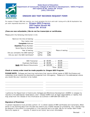 Oregon Ged Test Records Request Form - Fill Online, Printable ...