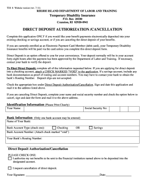 Ri Tdi Direct Deposit Form - Fill Online, Printable, Fillable ...