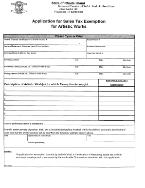 Sales Tax Exempt Form Rhode Island Fillable - Fill Online ...