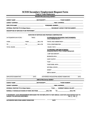 secondary employment form state of south carolina