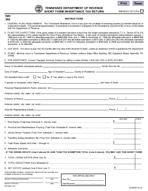 Tennessee Short Form Inheritance Tax Form - Fill Online, Printable ...