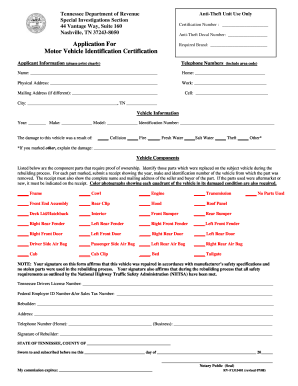 application for motor vehicle identification certification
