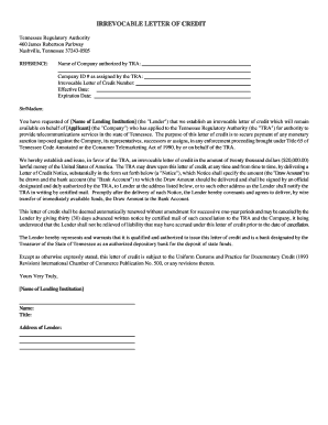 letter of credit tennessee sample form