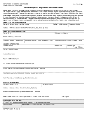 child care incident report form