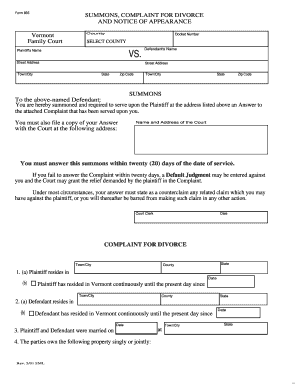 Vermont Family Court Form 835 - Fill Online, Printable