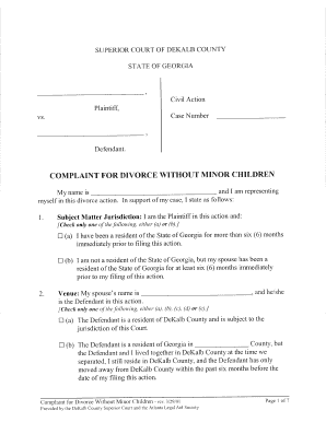 Printable divorce fee waiver form georgia - Fill Out