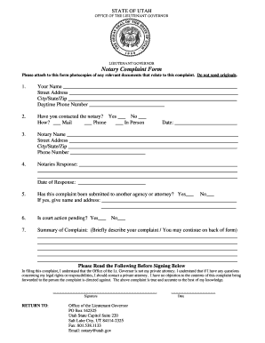 Utah notary acknowledgement form fillable