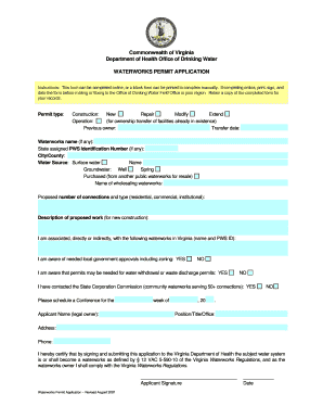 vdh waterworks permit application