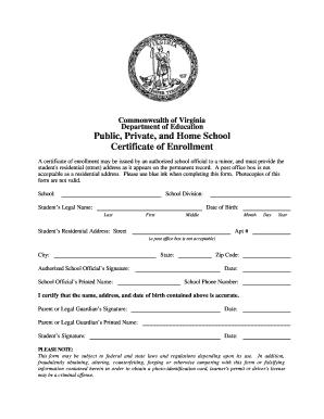 Certificate Of Enrollment   Fill Online, Printable, Fillable