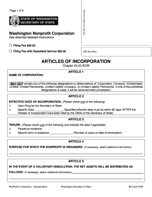 5 Printable Articles Of Incorporation Template Word Forms