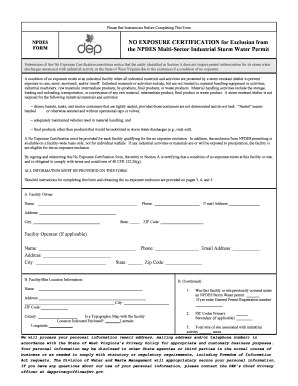 no exposure certification wv form