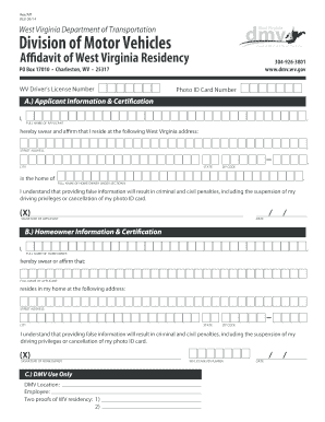 Bill of sale form texas residency affidavit templates for Wv dept motor vehicles charleston