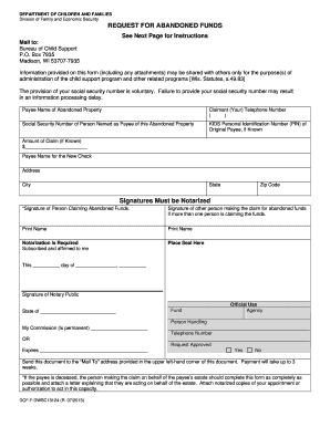 Wisconsin Form Request For Re Issuance Of A Stale Dated Check ...