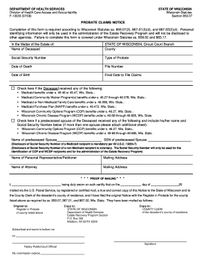 Bill Of Sale Form Notice Of Administration To Creditors Templates ...