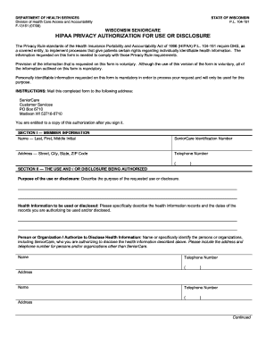 hipaa privacy authorization form wisconsin