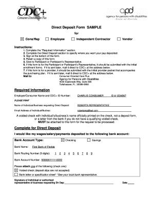 direct deposit form sample
