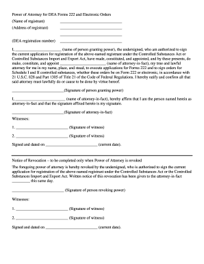 dea power of attorney form