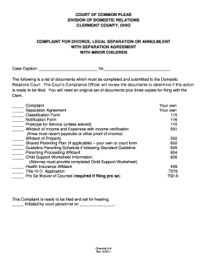 Sample Separation Agreement Ohio Fill Online Printable
