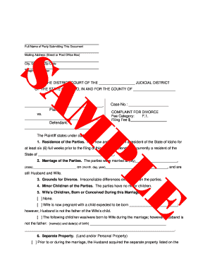 Sample Complaint For Divorce With Equitable Estoppel Form