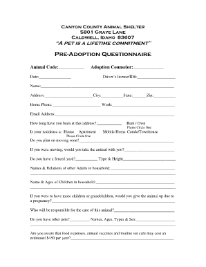 Animal adoption form template fill online printable for Veterinary forms templates