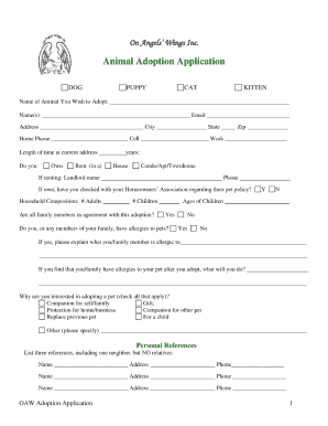 Handy image regarding pet adoption forms printable