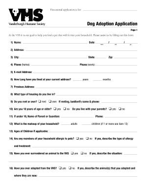 Fillable Online vhslifesaver Dog Adoption Application ( PDF 71KB ...