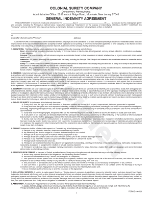 general indemnity agreement form