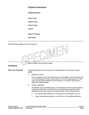 stock reporting insurance endorsement form