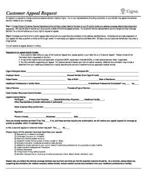 Cigna Appeals Form - Fill Online, Printable, Fillable, Blank ...