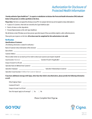 Protected Health Information Form