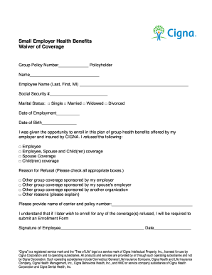 Cigna Waiver Form Fill Online Printable Fillable Blank