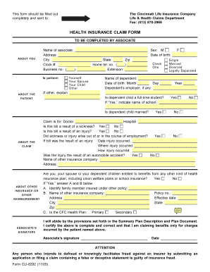 health insurance claim form fillable