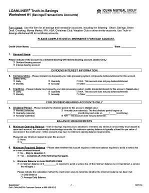 loanliner truth in savings questionnaire worksheet 1 form