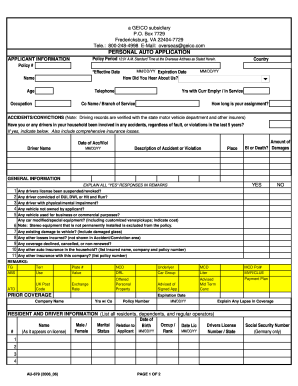 Geico Pip Application - Fill Online, Printable, Fillable ...