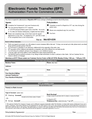 the hartford repetitive electronic fund transfer form