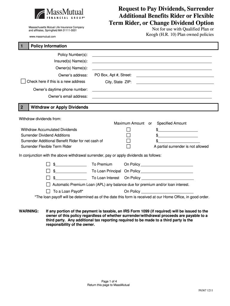 Massmutual Surrender Form - Fill Online, Printable ...
