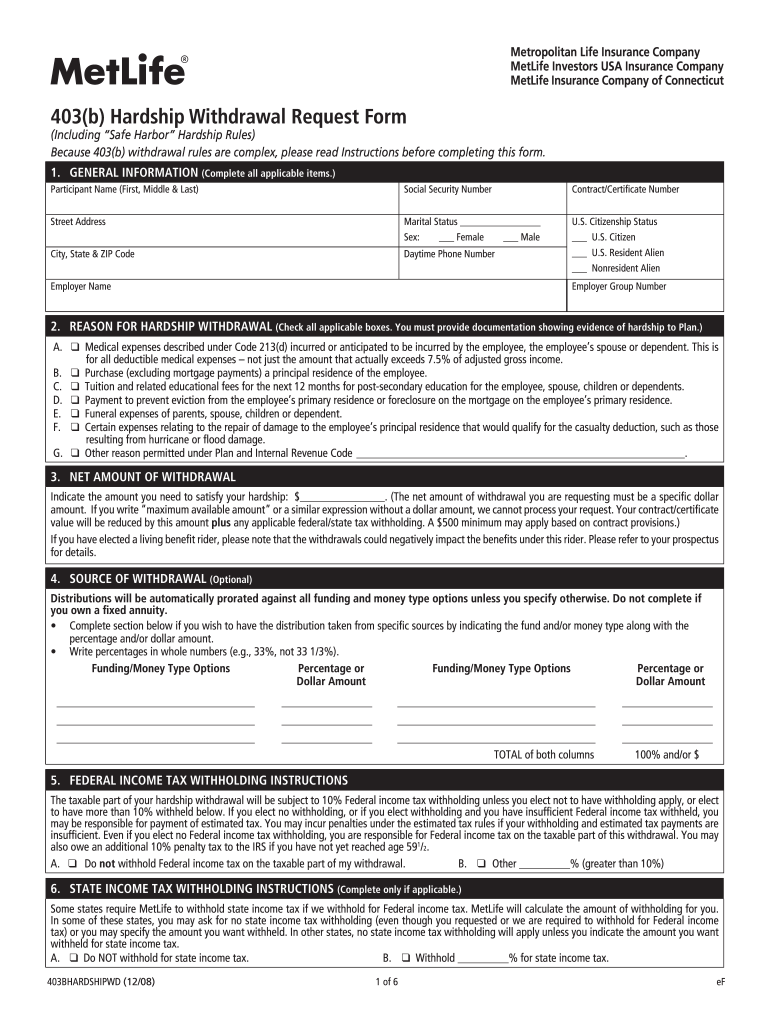 Metlife Brighthouse Hardship Forms - Fill Online ...