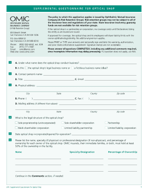 questionnaire for optical business form
