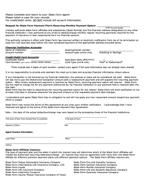 statefarm recurring monthly payment notice form
